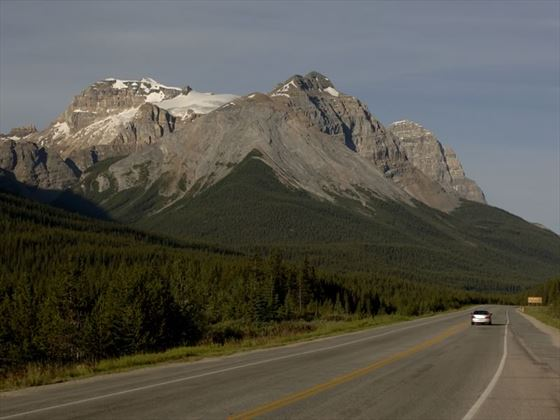 Trans Canada highway with view of the mountains near Yoho National Park, British Columbia