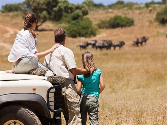 Family on safari in Kenya