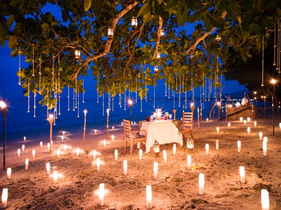 Private beach dining at The Sarojin