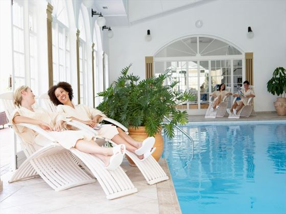 Unwind with friends by the beautiful spa pools