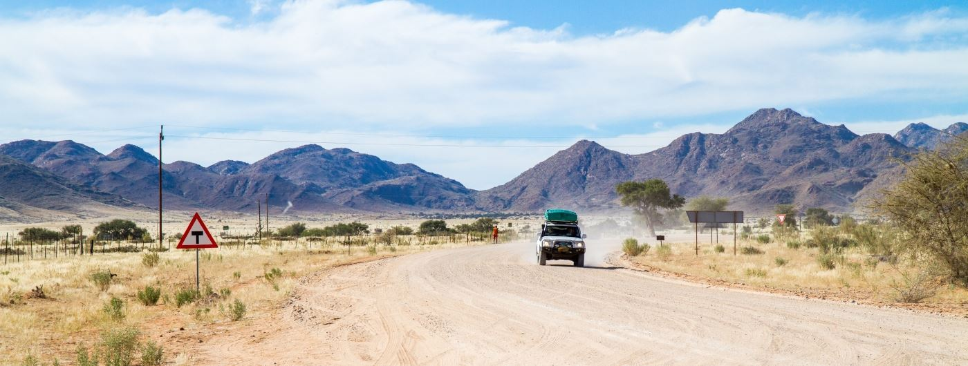 Driving through Namibia