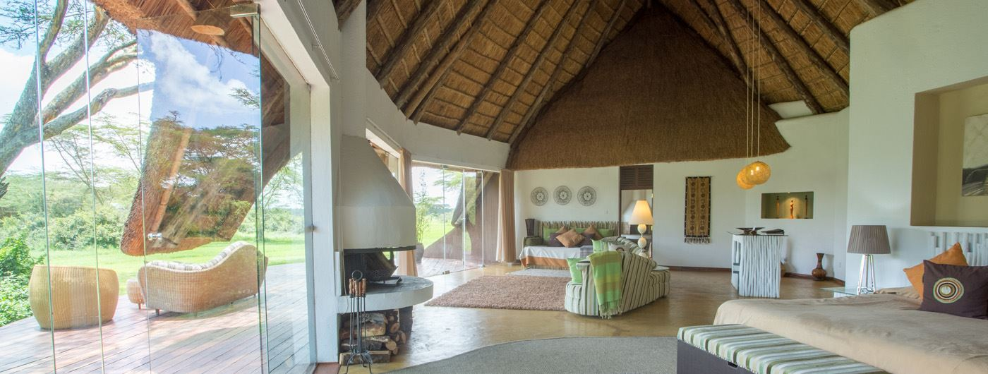 The sumtuously chic interior of the cottages at Solio Lodge