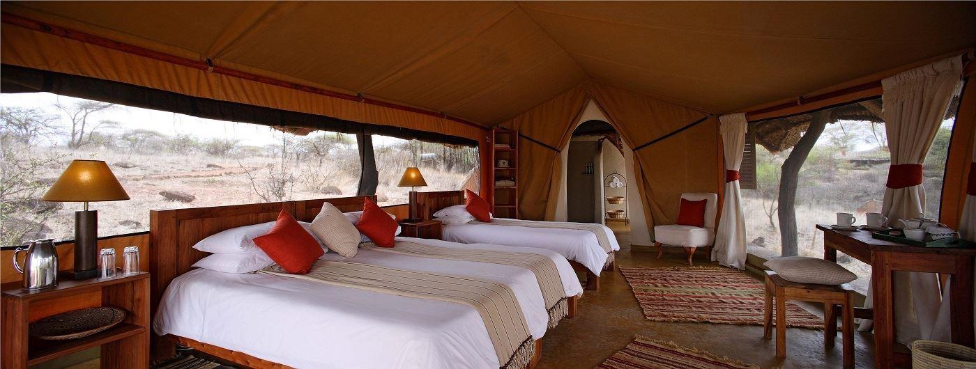 Triple tent interior