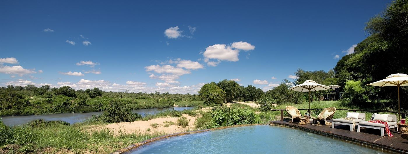 Lion Sands River Lodge pool with a view