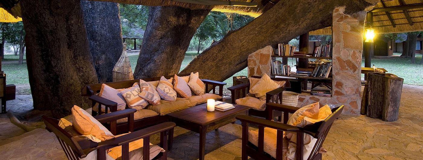 Nkwali Camp main lounge
