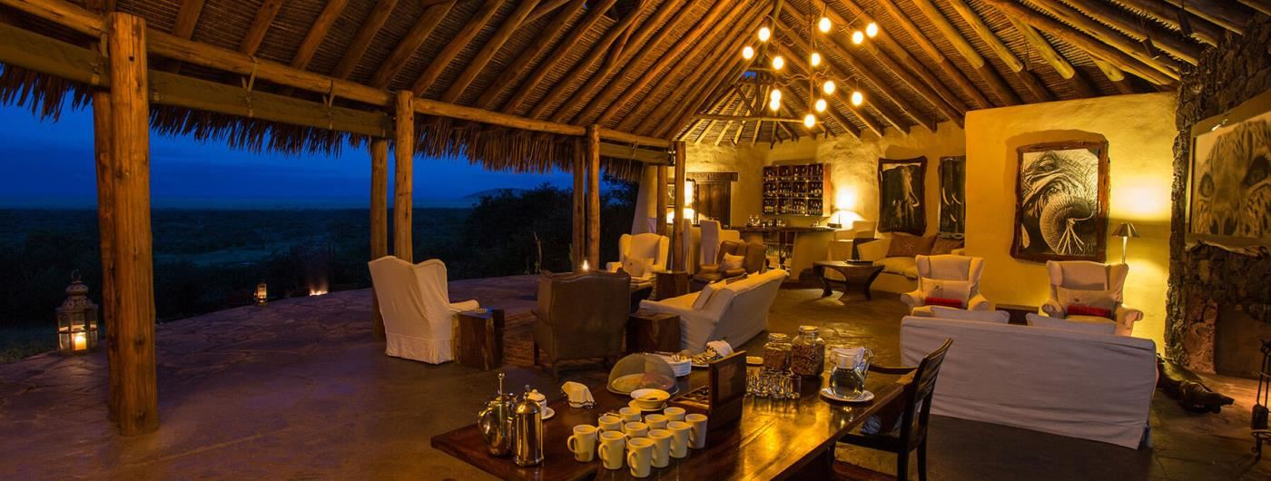 Ol Donyo Lodge lounge and dining area