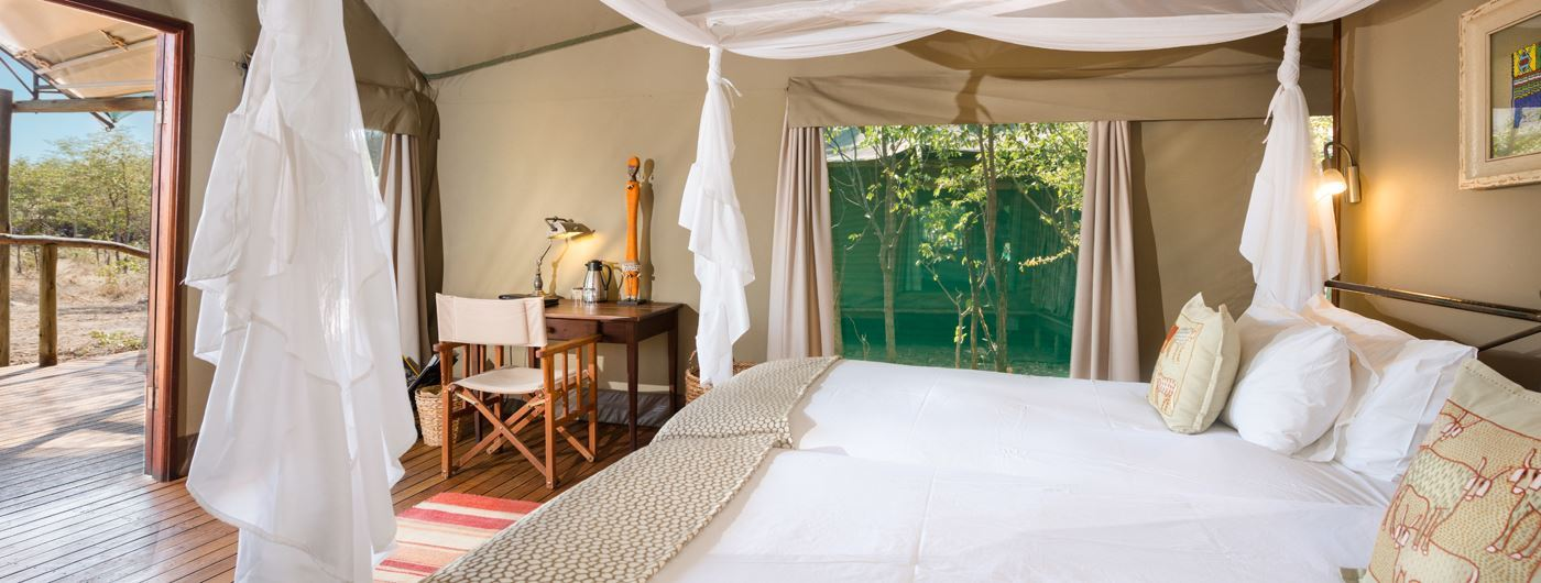 The luxury tent interiors at Ongava Tented Camp ©️ Dr Olwen Evans