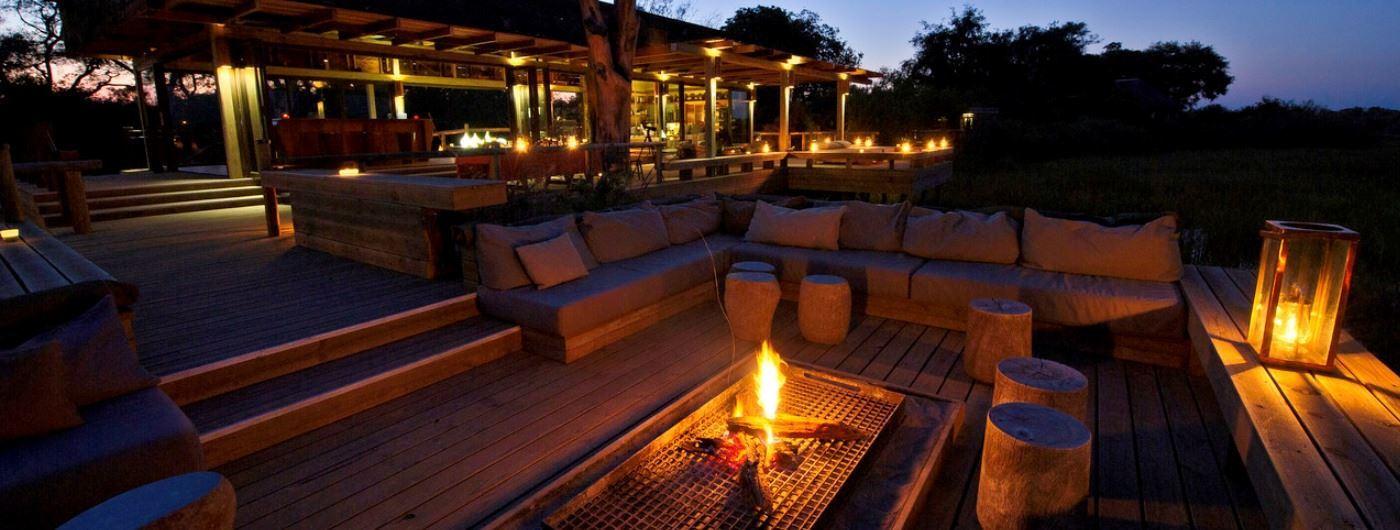 Vumbura Plains Camp al fresco campfire
