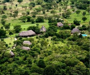 Aerial view of Semliki Safari Lodge