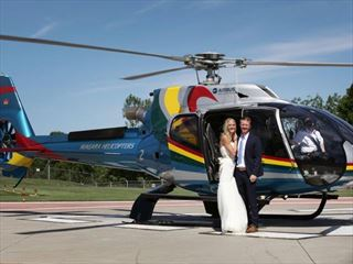 Bride & Groom boarding the helicopter