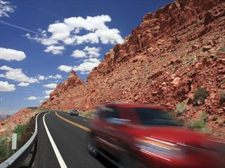 Car driving through Arizona