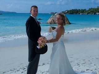 Wedding couple at Coco de mer
