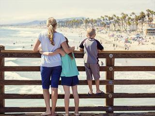 Family looking across to Venice Beach