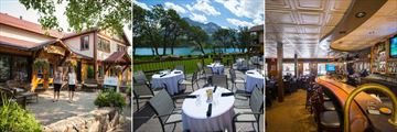 Serenity Spa, Alfresco dining at Lakeside Chophouse, Fireside Lounge and Bar, Bayshore Inn and Spa