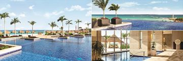The main pool, rooftop pool and spa at Hyatt Ziva Cancun