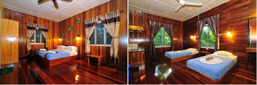 Double and twin rooms at Kinabatangan Riverside Lodge