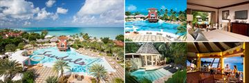 Sandals Grande Antigua; Main pool aerial view, Main Pool view to ocean, Caribbean Honemoon beachfront Grande Luxe Club level Room, Dining Ok Corral, Honeymoon Butler Rondaval with Private Pool