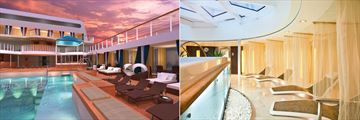 The pool and spa on board the Seabourn Odyssey