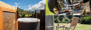 Abel Tasman Lodge, Marahau, Pongo Spa Pool, BBQ and Garden and Pool View