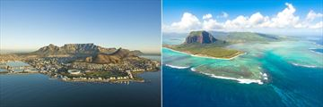 Aerial view of Cape Town & Mauritius