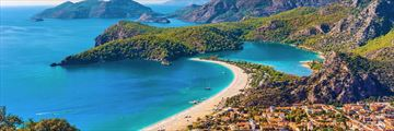 An aerial view of Fethiye, Turkey