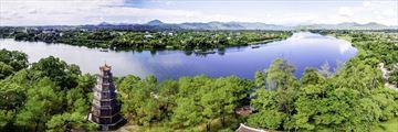Aerila View of Tien Mu Pagoda Hue Vietnam