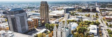 An aerial view of Salt Lake City