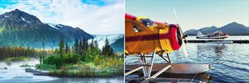 Chugach Forest, Kenai (left), and Alaskan seaplane (right)