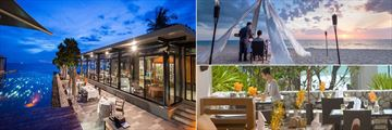 The Edge (left), Private Dining (top right), and The Natai (bottom right), at Aleenta Phuket Resort and Spa, Phang Nga
