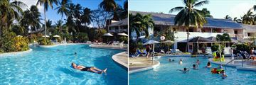 Almond Beach Resort adults only swimming pool and the kids club pool