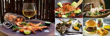 Anantara Hoi An, A Selection of Dishes - Shrimp, Braised Bass, Vietnamese Rolls, Burger and Lamb Cutlets