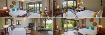 Clockwise from top left: Deluxe Ocean View, Deluxe Poolside Room, Premier Garden View Room and Ocean Suite at Anantara Kalutara
