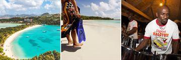 Deep Bay Atingua, Antigua Beach, Steel Pan Player at Shirly Heights Antigua