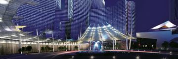 Hotel Exterior at Night at Aria Resort & Casino