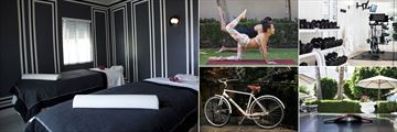 Avalon Hotel Palm Springs, (clockwise from left): Spa Treatment Room, Yoga, Fitness Centre, Table Tennis and Cycling