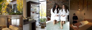 Balgownie Estate Vineyard Resort & Spa, (clockwise from top left): Natskin Day Spa - Exterior, Products, Hot Tub, Treatment Room and Couples Treatment Room