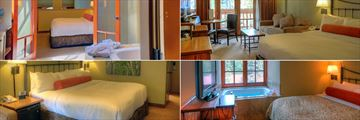 Banff Caribou Lodge, (clockwise from top left): Mountain Loft Jacuzzi Suite, Superior King Room, Corner Loft Suite and Standard King Room