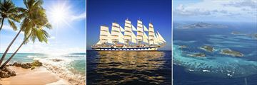 Barbados Coast, Royal Clipper cruise Boat & the Grenadines