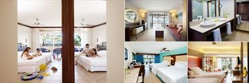 Barcelo Bavaro Palace, (clockwise from left): Family Room, Junior Suite Ocean Front, Superior Bathroom, Family Junior Suite and Deluxe Room