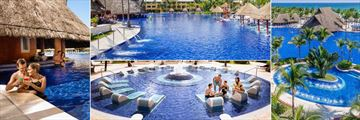 Barcelo Maya Palace, (clockwise from left): Swim Up Pool Bar, Pool Water Jet Spray, Aerial Pool Shot and Pool Loungers