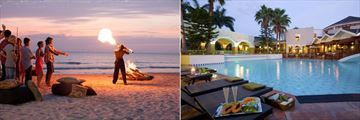 Beaches Negril Resort & Spa, Firepit Entertainment and Main Pool at Sunset