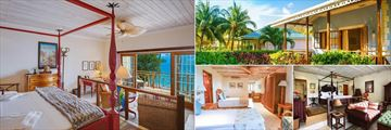 Beachfront Suite (left), One Bedroom Cottage (top right), Junior Plantation Suite (bottom right), and Classic Family Suite (bottom left) at Bequia Beach Hotel