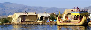 Boats docked along Lake Titicaca