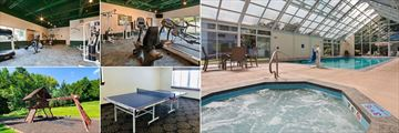 Best Western Plus Waterbury Stowe, (clockwise from top left): Fitness Centre, Fitness Centre, Pool with Jacuzzi, Table Tennis and Playground