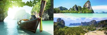 Thai boat in the Andaman Sea & Aerial view over Railay beach and rocks, Krabi