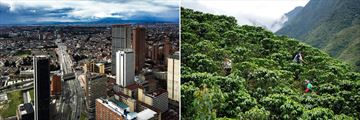 Bogota city (left), and Columbian farmers (right)