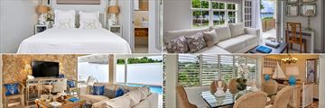 Superior Suites (top left and right) and Penthouse Suites (bottom left and right) at Calabash Luxury Boutique Hotel & Spa