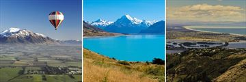 Canterbury Plains, Views of Mt Cook from Lake Pukaki & Christchurch Cityscape, South Island