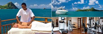 """Cap Maison, Outdoor Spa Massage, """"Sea Ray"""" Motor Launch and Fitness Centre"""
