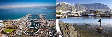 Cape Town harbour, waterfront and views from Table Mountain